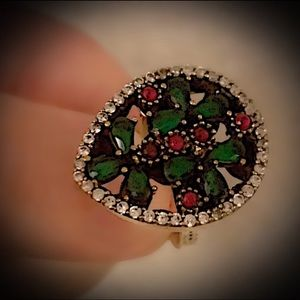 Other - Size 8.5 EMERALD RUBY FINE ART RING Solid 925/Gold